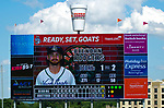 HARTFORD,  CT-071818JS14--Brendan Rodgers is seen on the scoreboard during the Yard Goat's game against Reading on Wednesday afternoon at Dunkin Donuts Park in Hartford.<br /> Jim Shannon Republican American