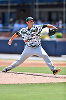 Augusta GreenJackets starting pitcher Stephen Woods (22) delivers a pitch during a game against the Asheville Tourists at McCormick Field on July 16, 2017 in Asheville, North Carolina. The GreenJackets defeated the Tourists 10-9. (Tony Farlow/Four Seam Images)