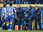 Kenny Shiels and Jimmy Nicholl after Pascali's red card as fourth official Andrew Dallas looks on..