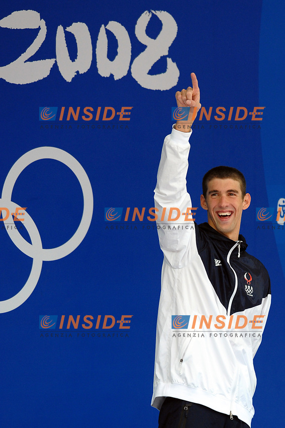 Michael Phelps USA, Men's 100 Butterfly, Gold Medal<br /> National Aquatics Centre - Swimming - Nuoto<br /> Pechino - Beijing 16/8/2008 Olimpiadi 2008 Olympic Games<br /> Foto Andrea Staccioli Insidefoto