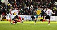 9th February 2020; Broadwood Stadium, Cumbernauld, North Lanarkshire, Scotland; Scottish Cup Football, Clyde versus Celtic; James Forrest of Celtic hits a shot but it is blocked by John Rankin of Clyde's arm