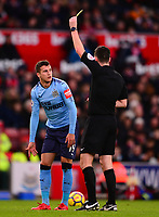 Javier Manquillo of Newcastle United is shown a yellow card during the EPL - Premier League match between Stoke City and Newcastle United at the Britannia Stadium, Stoke-on-Trent, England on 1 January 2018. Photo by Bradley Collyer / PRiME Media Images.