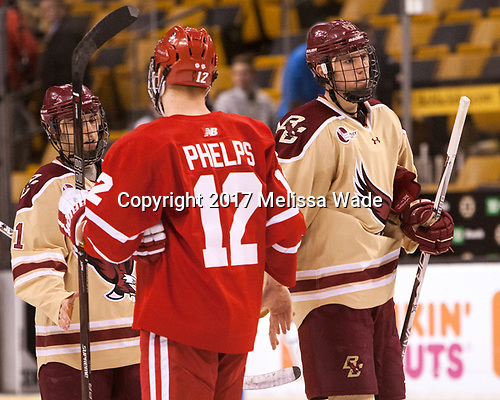 Matthew Gaudreau (BC - 21), Chase Phelps (BU - 12), David Cotton (BC - 17) - The Boston University Terriers defeated the Boston College Eagles 3-1 in their opening Beanpot game on Monday, February 6, 2017, at TD Garden in Boston, Massachusetts.