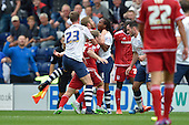 09/08/2015 Sky Bet League Championship Preston North End v Middlesbrough <br /> Paul Huntington holds back Grant Leadbitter as Adam Clayton gets to grips with Daniel Johnson