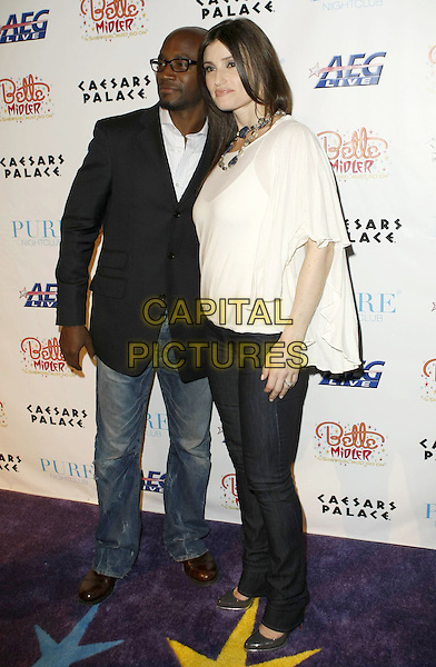 "TAYE DIGGS & IDINA MENZEL.Bette Midler ""The Showgirl Must Go On"" Opening Night at the Coliseum in Caesars Palace After-Party at Pure Nightclub, Las Vegas, NV, USA..February 20th, 2008.full length black jacket jeans denim white sheer top  .CAP/ADM/MJT.© MJT/AdMedia/Capital Pictures."