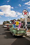 Nosalgia shop with pickup, James Dean and Marilyn Monroe cardboard cut-outs along Main St., Historic Route 66, Seligman, Ariz.