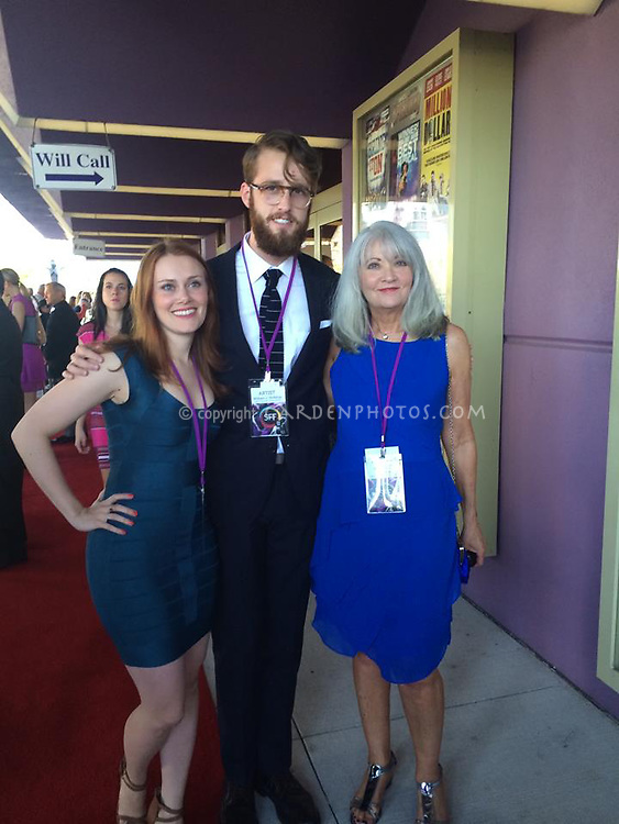 Actress Michelle Petterson, director William J. Stribling, screenwriter/co-producer judywhite aka Judy White, 2014 Sarasota Film Festival red carpet, with Lies I Told My Little Sister, narrative feature drama-comedy independent film.