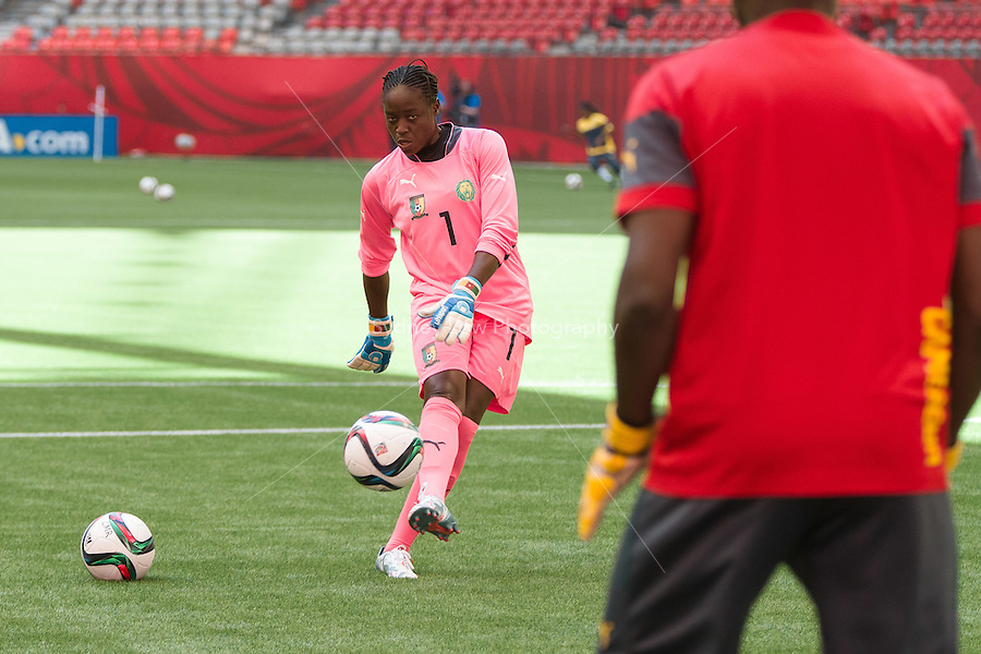 June 7, 2015: Annette NGO NDOM of Cameroon at a prematch training session ahead of a Group C match at the FIFA Women's World Cup Canada 2015 between Cameroon and Ecuador at BC Place Stadium on 8 June 2015 in Vancouver, Canada. Sydney Low/AsteriskImages