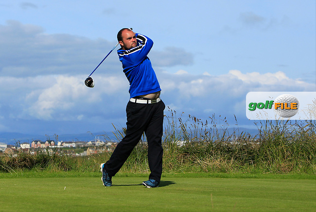 Jordan Hood (Galgorm Castle) on the 4th tee during Round 3 of Matchplay in the North of Ireland Amateur Open Championship at Portrush Golf Club, Portrush on Thursday 14th July 2016.<br /> Picture:  Thos Caffrey / www.golffile.ie