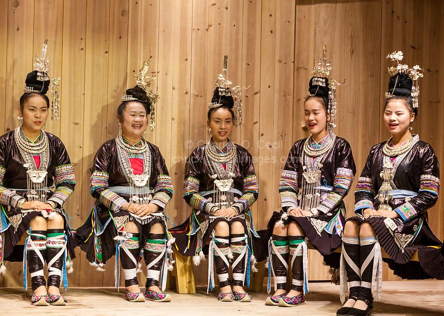 Zhaoxing, Guizhou, China.  Traditional Musical Performance by Women of the Dong Ethnic Minority.