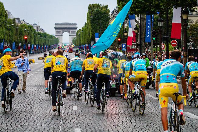 Astana Pro Team, Rider parade on the Champs-Élysées, Tour de France, Stage 21: Évry > Paris Champs-Élysées, UCI WorldTour, 2.UWT, Paris Champs-Élysées, France, 27th July 2014, Photo by Thomas van Bracht
