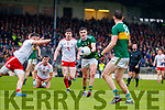 Sean O'Shea  Kerry in action against Rory Brennan Tyrone during the Allianz Football League Division 1 Round 1 match between Kerry and Tyrone at Fitzgerald Stadium, Killarney on Sunday.