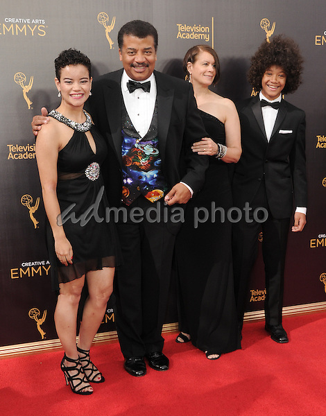 11 September 2016 - Los Angeles, California. Alice Degrasse, Neil Degrasse, Miranda Degrasse, Travis Degrasse. 2016 Creative Arts Emmy Awards - Day 2 held at Microsoft Theater. Photo Credit: Birdie Thompson/AdMedia