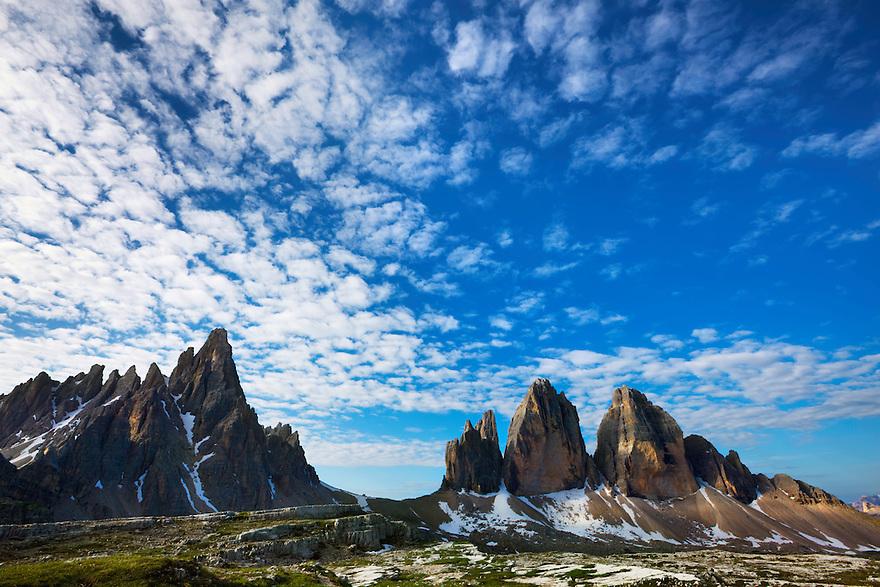 Mountain impression Paternkofel and Tre Cime - Europe, Italy, South Tyrol, Sexten Dolomites, Tre Cime - Forenoon - July 2009 - Mission Dolomites Tre Cime