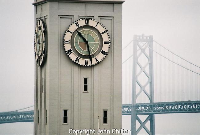 Photo of Clocktower and Bay Bridge in San Francisco
