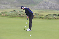 Killian McGinley (Sunningdale) on the 12th green during Round 2 of the Ulster Boys Championship at Portrush Golf Club, Portrush, Co. Antrim on the Valley course on Wednesday 31st Oct 2018.<br /> Picture:  Thos Caffrey / www.golffile.ie<br /> <br /> All photo usage must carry mandatory copyright credit (&copy; Golffile | Thos Caffrey)