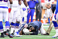 Sunday, October 2, 2016: New England Patriots running back Brandon Bolden (38) gets attention from training staff during the NFL game between the Buffalo Bills and the New England Patriots held at Gillette Stadium in Foxborough Massachusetts. Buffalo defeats New England 16-0. Eric Canha/Cal Sport Media