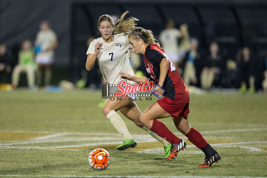 Sarah Teegarden (7) of the Wake Forest Demon Deacons chases after Alison Price (20) of the Louisville Cardinals during first half action at Spry Soccer Stadium on October 31, 2015 in Winston-Salem, North Carolina.  The Demon Deacons defeated the Cardinals 2-1.  (Brian Westerholt/Sports On Film)