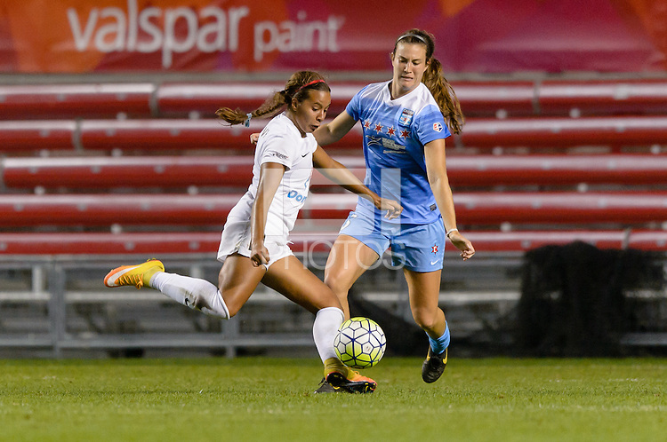 Chicago, IL - Saturday July 30, 2016: Frances Silva, Katie Naughton during a regular season National Women's Soccer League (NWSL) match between the Chicago Red Stars and FC Kansas City at Toyota Park.