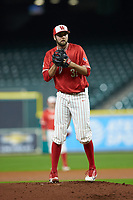 Houston Cougars starting pitcher Ryan Randel (31) looks to his catcher for the sign against the Vanderbilt Commodores during game nine of the 2018 Shriners Hospitals for Children College Classic at Minute Maid Park on March 3, 2018 in Houston, Texas. The Commodores defeated the Cougars 9-4. (Brian Westerholt/Four Seam Images)