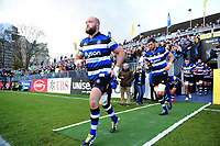 Tom Dunn and the rest of the Bath Rugby team run onto the field. Aviva Premiership match, between Bath Rugby and Harlequins on November 25, 2017 at the Recreation Ground in Bath, England. Photo by: Patrick Khachfe / Onside Images