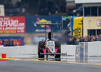 Oct 1, 2016; Mohnton, PA, USA; NHRA top alcohol dragster driver Mike Lewis during qualifying for the Dodge Nationals at Maple Grove Raceway. Mandatory Credit: Mark J. Rebilas-USA TODAY Sports