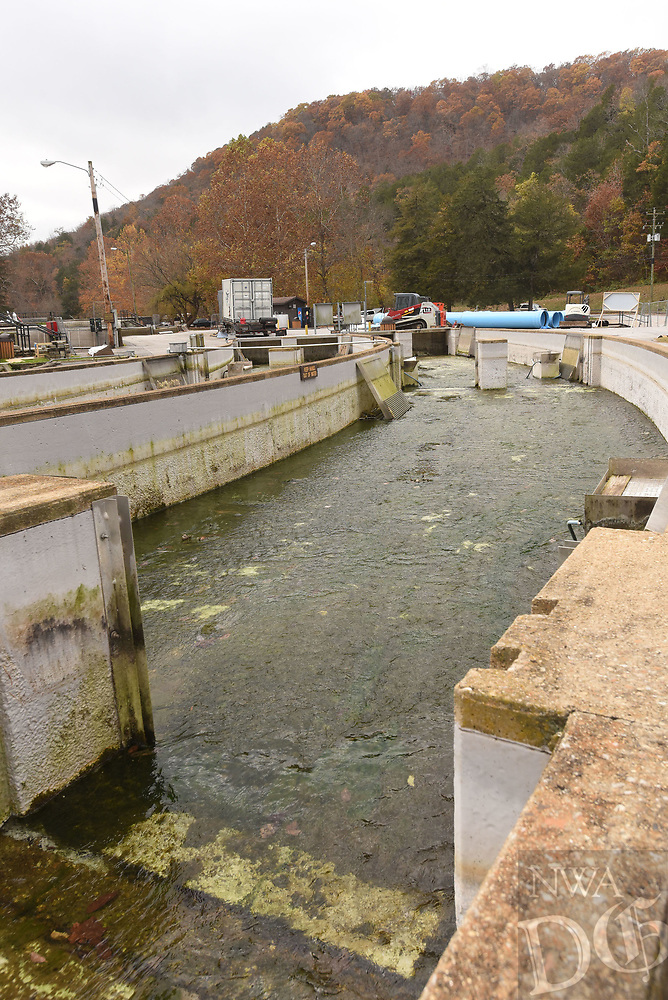 NWA Democrat-Gazette/FLIP PUTTHOFF <br />Construction work at the Roaring River Hatchery doesn't affect catch and release trout fishing. Improvements will bring the hatchery up to date for raising trout.