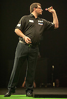 09.04.2015. Sheffield, England. Betway Premier League Darts. Matchday 10.  James Wade [ENG] in action during his game with Dave Chisnall [ENG]