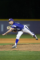 High Point Panthers relief pitcher Matt Hodges (25) follows through on his delivery against the NJIT Highlanders during game two of a double-header at Williard Stadium on February 18, 2017 in High Point, North Carolina.  The Highlanders defeated the Panthers 4-2.  (Brian Westerholt/Four Seam Images)