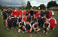 The Central Hawkes Bay team poses for a group photo after the under-13 rugby match between Horowhenua-Kapiti and Central Hawkes Bay at Otaki Domain in Otaki, New Zealand on Sunday, 6 August 2017. Photo: Dave Lintott / lintottphoto.co.nz