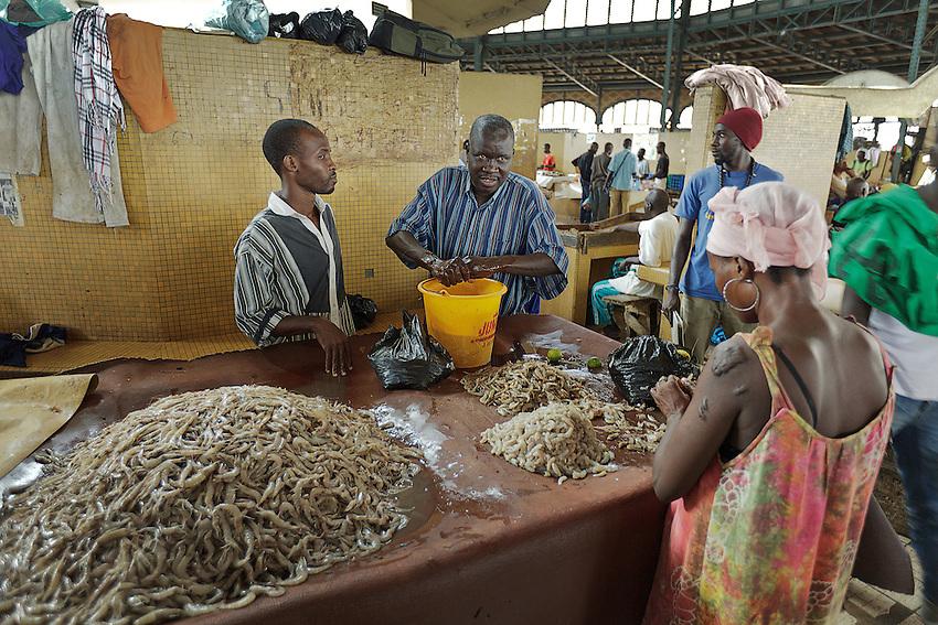 Africa, Afrika, Senegal, 17-09-2011, Dakar, Dakkar, Straatbeeld, markten langs de kant van de weg, sloppenwijk, bus vervoer, drukte, kleurrijk, marche Kermel, de overdekte markt van Dakar. visverkoper.. foto: michael Kooren/HH