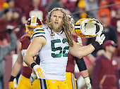 Green Bay Packers inside linebacker Clay Matthews (52) leaves the field after a fourth quarter defensive stand against the Washington Redskins in an NFC Wild Card game at FedEx Field in Landover, Maryland on Sunday, January 10, 2016.  The Packers won the game 35 - 18.<br /> Credit: Ron Sachs / CNP