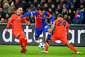 31st October 2017, St Jakob-Park, Basel, Switzerland; UEFA Champions League, FC Basel versus CSKA Moscow; Bibras Natkho and Vasiliy Berezutskiy of CSKA Moscow challenge Mohamed Elyounoussi of FC Basel for the ball