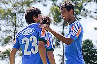SAO PAULO, 04 DE MARÇO, 2013  - TREINO PALMEIRAS - Os jogadores Tiago Real(E) e Vinicius(D) do Palmeiras durante treino na Academia de Futebol, na manhã desta segunda-feira(04), zona oeste de capital.  A equipe se prepara para 3ª rodada da Libertadores, contra o Tigre, na próxima quarta(06/03) no Estádio José Dellagiovanna - Monumental de Victoria - FOTO: LOLA OLIVEIRA//BRAZIL PHOTO PRESS