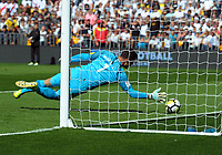 New Zealand's Stefan Narinovic makes an early save during the 2018 FIFA World Cup Russia first-leg playoff football match between the NZ All Whites and Peru at Westpac Stadium in Wellington, New Zealand on Saturday, 11 November 2017. Photo: Mike Moran / lintottphoto.co.nz