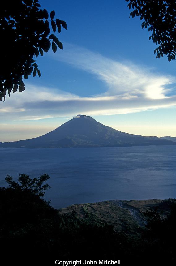 Lkae Atitlan, Guatemala. Volcan Toliman iis in the background.
