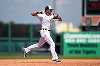 Detroit Tigers infielder Andrew Romine (27) during a Spring Training game against the Miami Marlins on March 25, 2015 at Joker Marchant Stadium in Lakeland, Florida.  Detroit defeated Miami 8-4.  (Mike Janes/Four Seam Images)