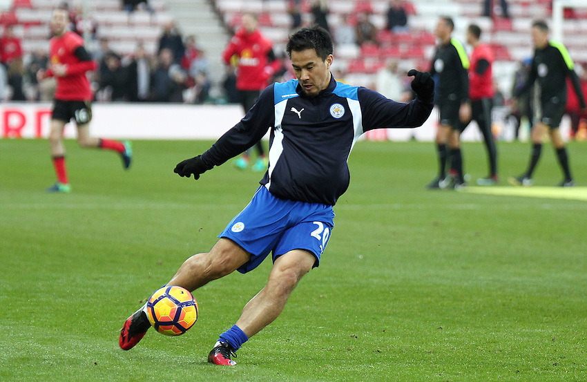 Leicester City's Shinji Okazaki during the pre-match warm-up <br /> <br /> Photographer Rich Linley/CameraSport<br /> <br /> The Premier League - Sunderland v Leicester City - Saturday 3rd December 2016 - Sunderland Stadium of Light - Sunderland<br /> <br /> World Copyright &copy; 2016 CameraSport. All rights reserved. 43 Linden Ave. Countesthorpe. Leicester. England. LE8 5PG - Tel: +44 (0) 116 277 4147 - admin@camerasport.com - www.camerasport.com