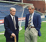 Allan McGraw and Walter Smith at Ibrox ahead of a Rangers -Morton League Cup tie in 1995