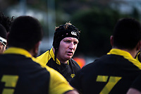 Wellington captain Thomas Waldrom talks to his team during the Mitre 10 Cup preseason rugby match between the Wellington Lions and Auckland at Evan's Bay Park in Wellington, New Zealand on Friday, 3 August 2018. Photo: Dave Lintott / lintottphoto.co.nz
