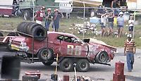 Ralph Jones #08 Ford Torino crashed garge  30th place finish Southern 500 Darlington Raceway, Darlington SC, September 5, 1977.(Photo by Brian Cleary/www.bcpix.com)