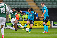 George Glendon of Fleetwood Town is challenged by Nathan Blissett of Plymouth Argyle during the Sky Bet League 1 match between Plymouth Argyle and Fleetwood Town at Home Park, Plymouth, England on 7 October 2017. Photo by Mark  Hawkins / PRiME Media Images.