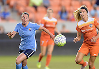 Houston, TX - Friday April 29, 2016: Erin Simon (33) of Sky Blue FC and Rachel Daly (3) of the Houston Dash chase after a loose ball at BBVA Compass Stadium. The Houston Dash tied Sky Blue FC 0-0.
