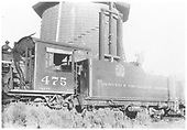Partial left side view of K-28 #475 at water tank.<br /> D&amp;RGW
