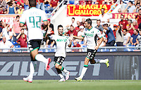 Calcio, Serie A: Roma vs Sassuolo. Roma, stadio Olimpico, 20 settembre 2015.<br /> Sassuolo&rsquo;s Matteo Politano, center, celebrates after scoring during the Italian Serie A football match between Roma and Sassuolo at Rome's Olympic stadium, 20 September 2015.<br /> UPDATE IMAGES PRESS/Isabella Bonotto