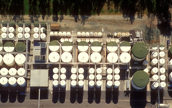 Aerial view of winery tanks in St. Helena, Ca