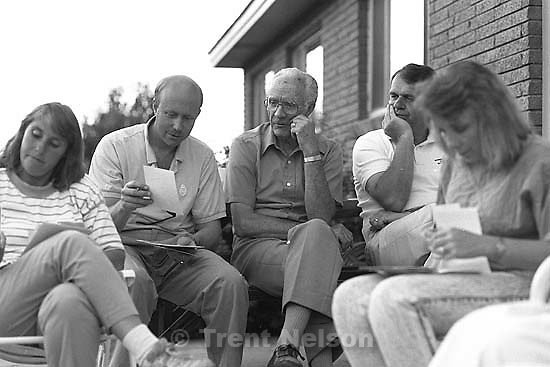 Carole Jensen, Dave Nelson, Verdun Watts, Jan Jensen, Suzanne Nelson at a family picnic at the Watts'.<br />