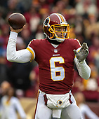 Washington Redskins quarterback Mark Sanchez (6) looks for a receiver in first quarter action during the game against the New York Giants at FedEx Field in Landover, Maryland on Sunday, December 9, 2018.  The Giants won the game 40 - 16.<br /> Credit: Ron Sachs / CNP<br /> (RESTRICTION: NO New York or New Jersey Newspapers or newspapers within a 75 mile radius of New York City)