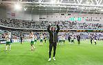 Stockholm 2015-04-25 Fotboll Allsvenskan Hammarby IF - &Aring;tvidabergs FF :  <br /> Hammarbys Linus Hallenius sjunger framf&ouml;r Hammarbys supportrar efter matchen mellan Hammarby IF och &Aring;tvidabergs FF <br /> (Foto: Kenta J&ouml;nsson) Nyckelord:  Fotboll Allsvenskan Tele2 Arena Hammarby HIF Bajen &Aring;tvidaberg &Aring;FF jubel gl&auml;dje lycka glad happy supporter fans publik supporters glad gl&auml;dje lycka leende ler le
