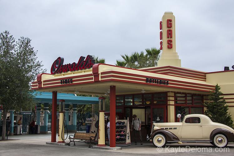 Oswald's Gas Station on Buena Vista Street at Disney California Adventure Park at the Disneyland Resort in Anaheim, CA
